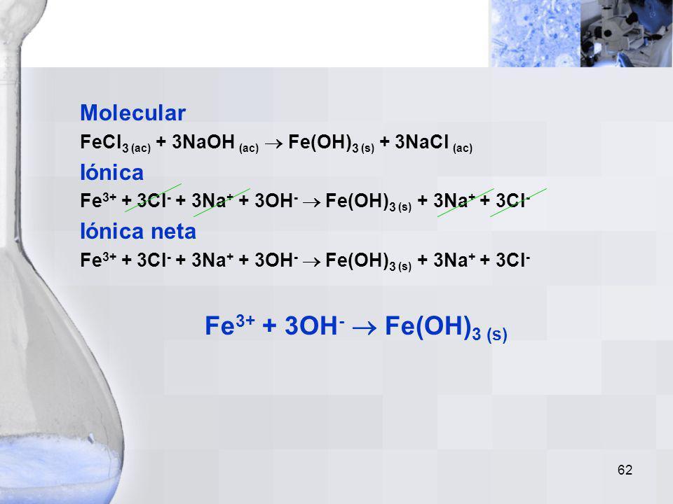 Fe3+ + 3OH-  Fe(OH)3 (s) Molecular Iónica Iónica neta