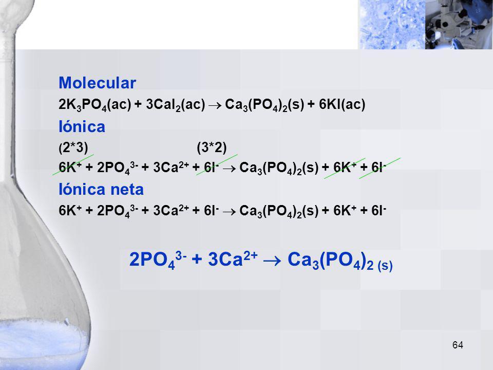 2PO43- + 3Ca2+  Ca3(PO4)2 (s) Molecular Iónica Iónica neta