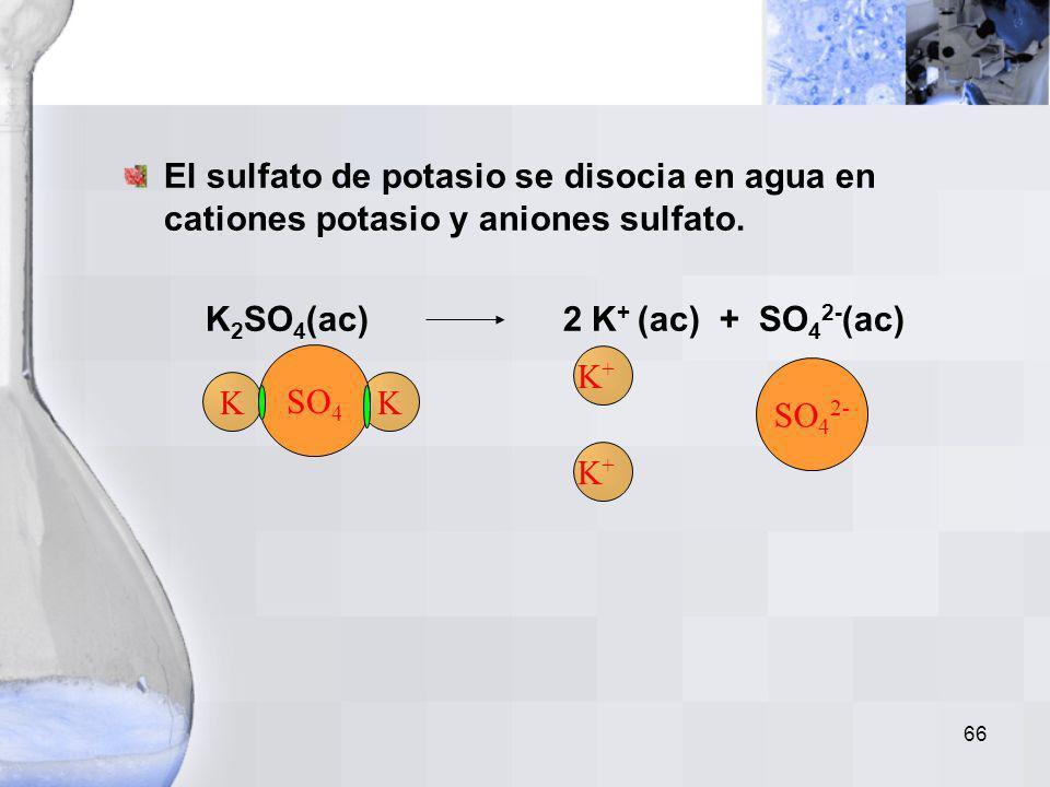 K2SO4(ac) 2 K+ (ac) + SO42-(ac)