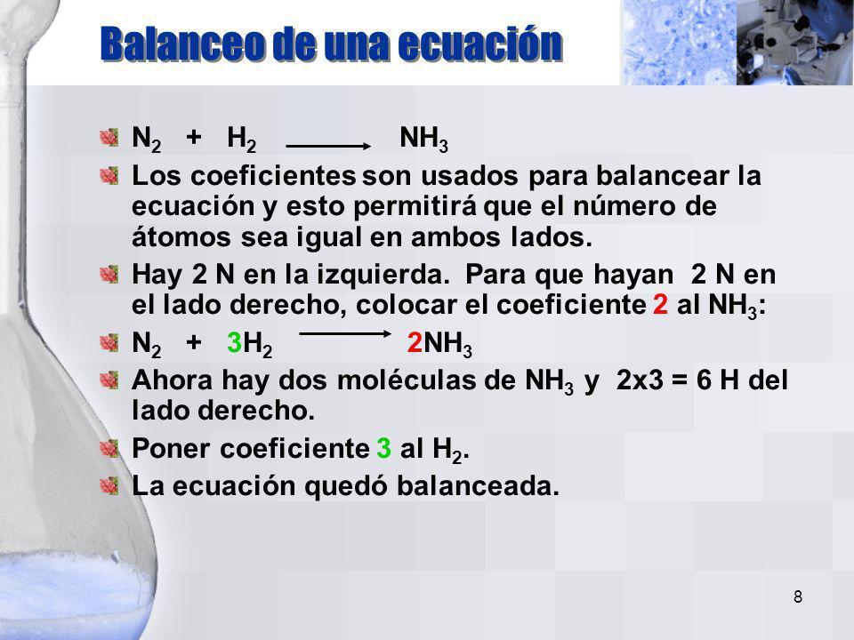 Balanceo de una ecuación