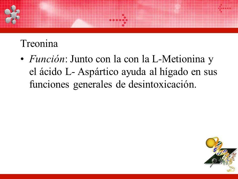 Treonina Función: Junto con la con la L-Metionina y el ácido L- Aspártico ayuda al hígado en sus funciones generales de desintoxicación.
