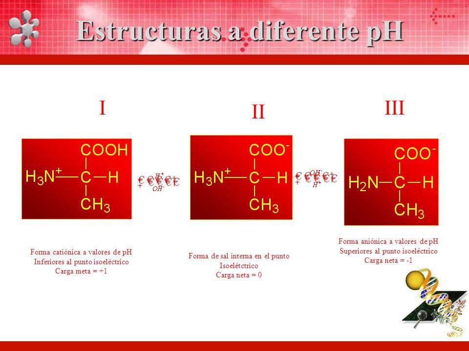 Estructuras a diferente pH