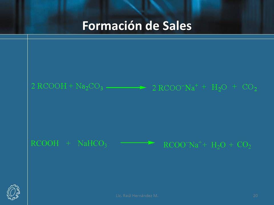 Formación de Sales Lic. Raúl Hernández M.