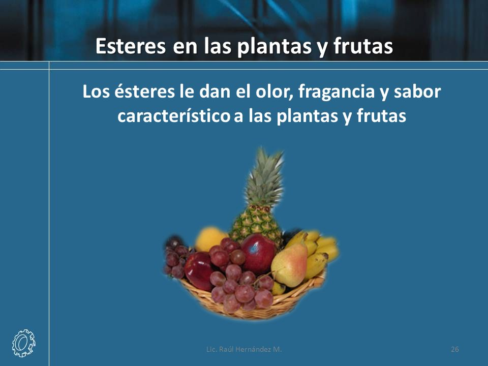 Esteres en las plantas y frutas