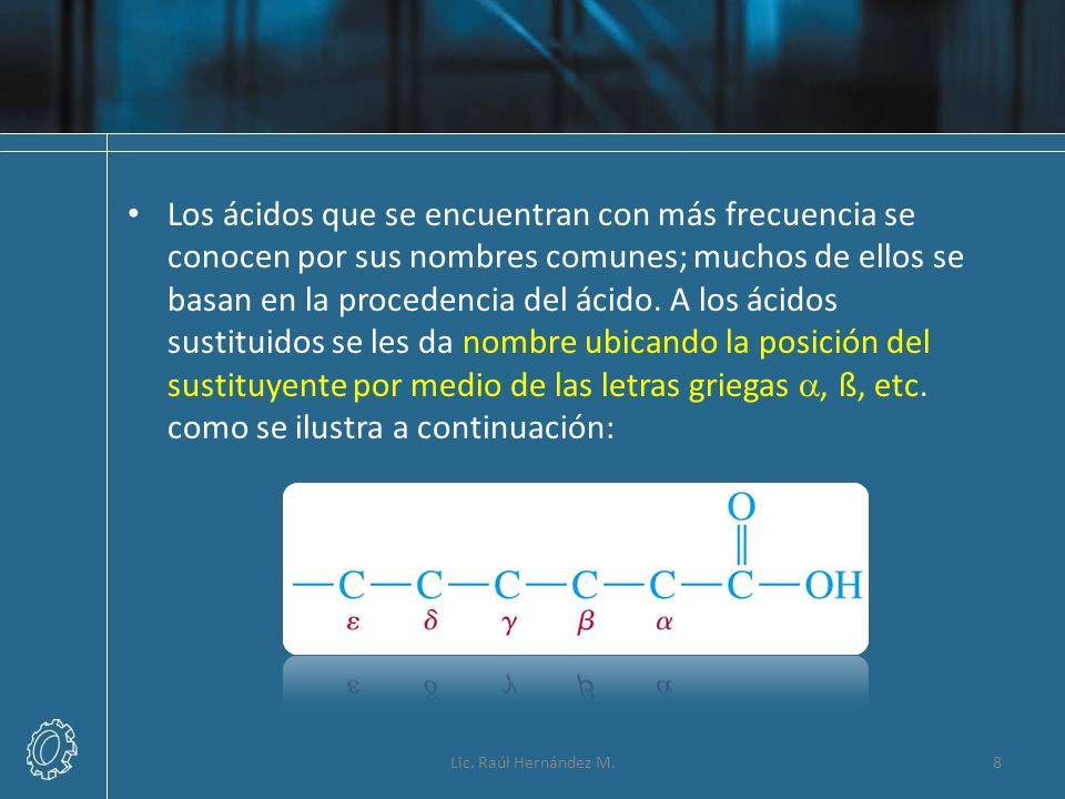 Los ácidos que se encuentran con más frecuencia se conocen por sus nombres comunes; muchos de ellos se basan en la procedencia del ácido. A los ácidos sustituidos se les da nombre ubicando la posición del sustituyente por medio de las letras griegas a, ß, etc. como se ilustra a continuación: