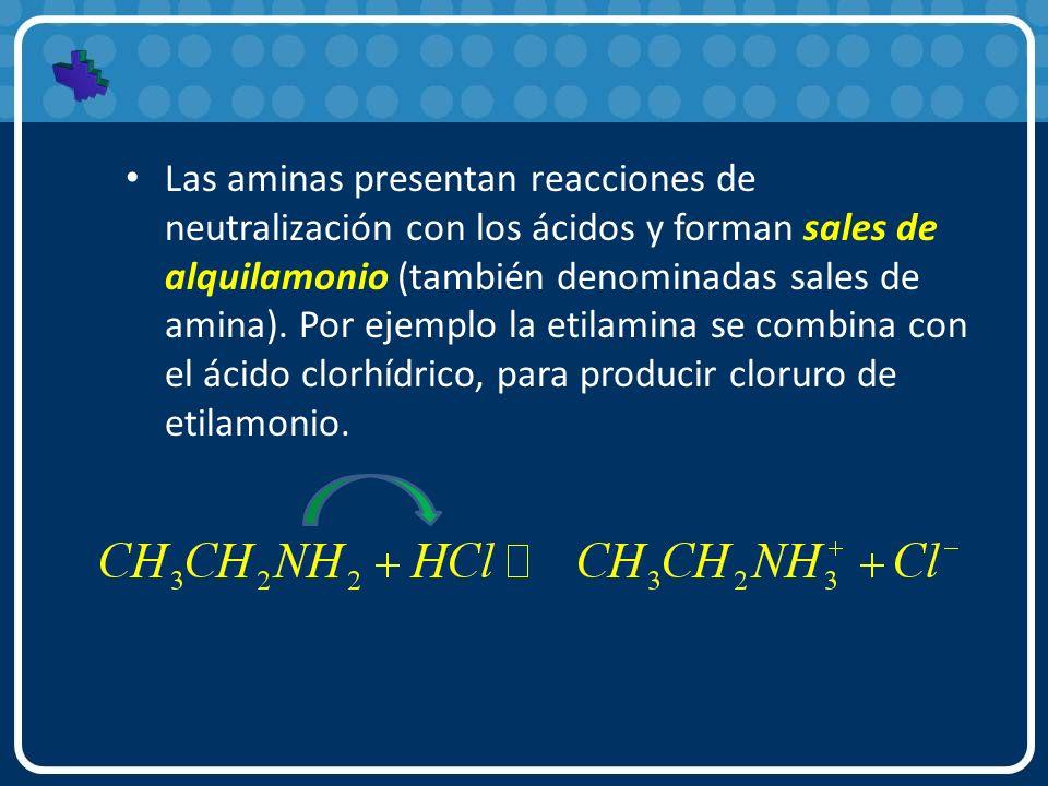 Las aminas presentan reacciones de neutralización con los ácidos y forman sales de alquilamonio (también denominadas sales de amina).