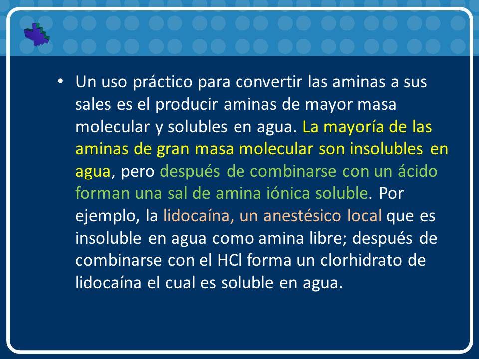 Un uso práctico para convertir las aminas a sus sales es el producir aminas de mayor masa molecular y solubles en agua.