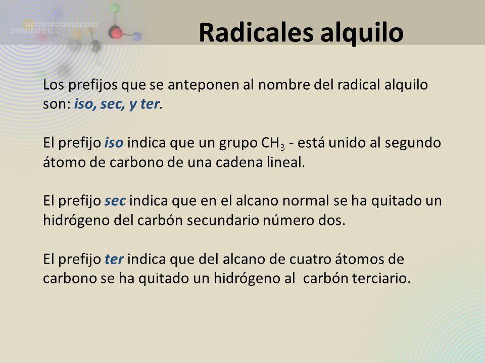 Radicales alquiloLos prefijos que se anteponen al nombre del radical alquilo son: iso, sec, y ter.