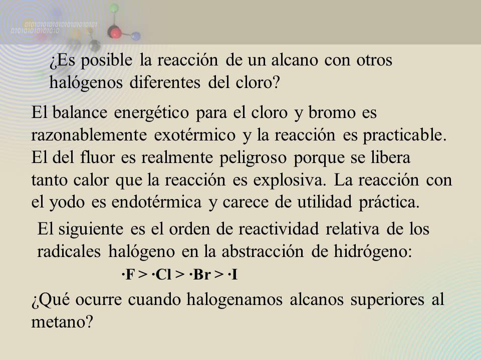 ¿Es posible la reacción de un alcano con otros halógenos diferentes del cloro