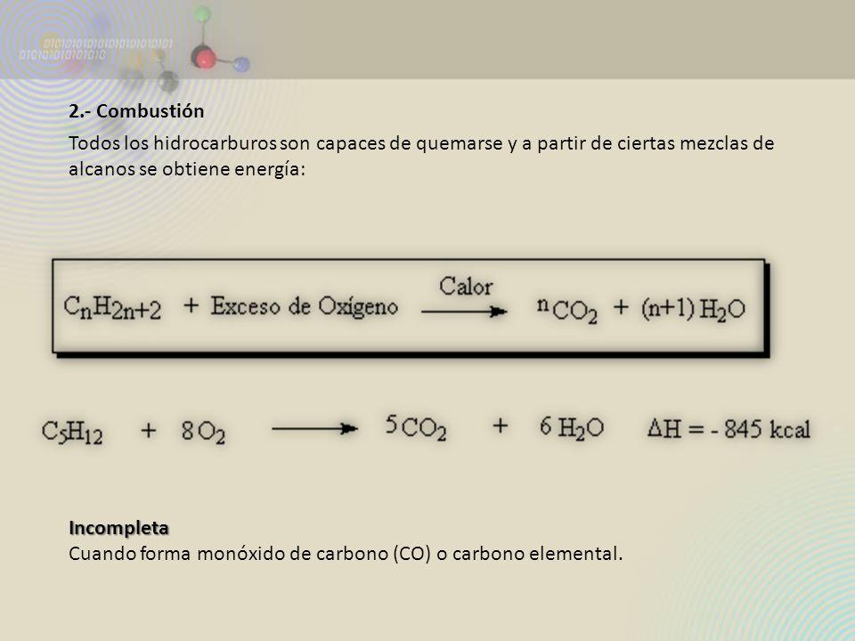 2.- Combustión Todos los hidrocarburos son capaces de quemarse y a partir de ciertas mezclas de alcanos se obtiene energía: