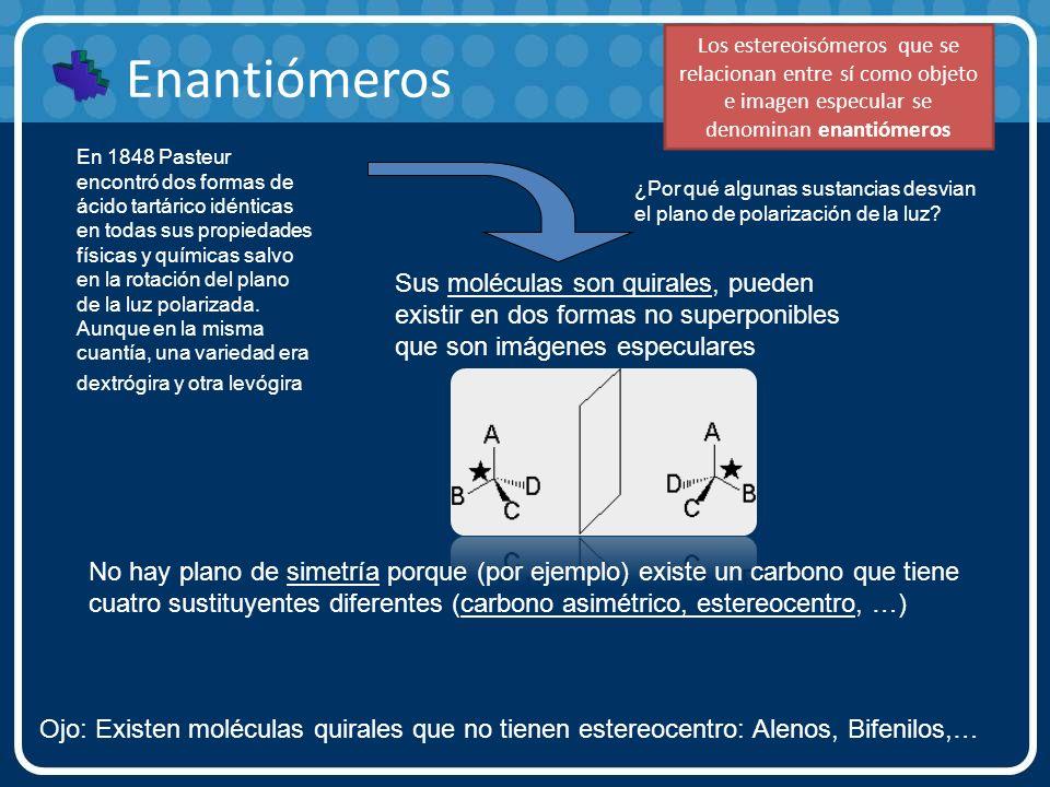 Los estereoisómeros que se relacionan entre sí como objeto e imagen especular se denominan enantiómeros