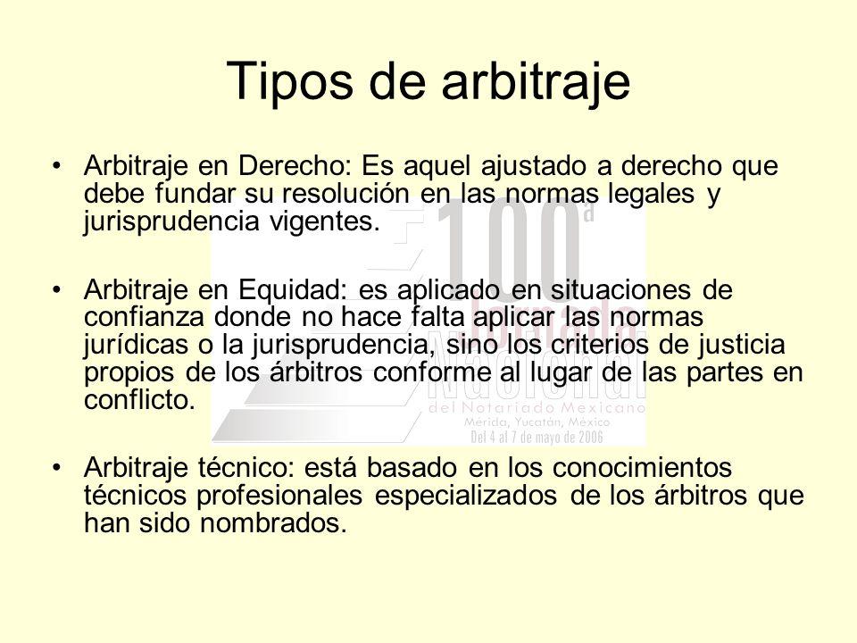Tipos de arbitraje Arbitraje en Derecho: Es aquel ajustado a derecho que debe fundar su resolución en las normas legales y jurisprudencia vigentes.