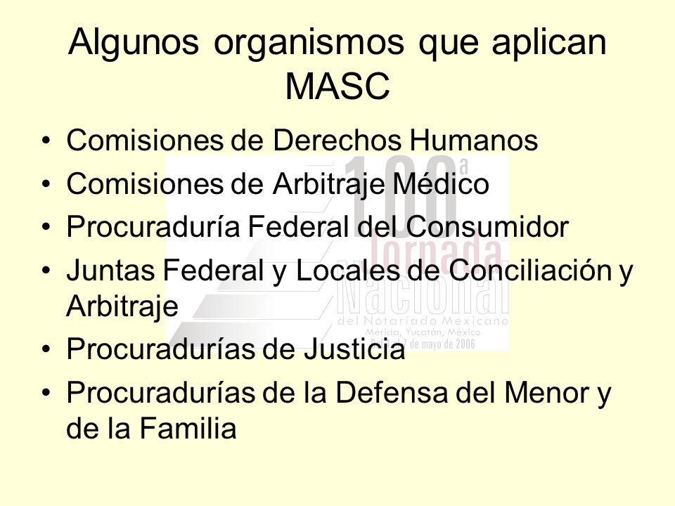 Algunos organismos que aplican MASC
