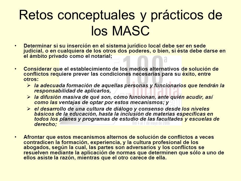 Retos conceptuales y prácticos de los MASC