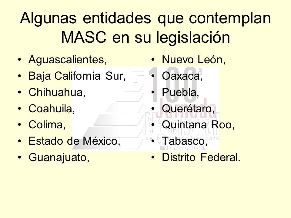 Algunas entidades que contemplan MASC en su legislación