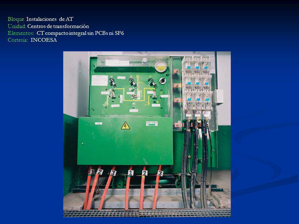 Bloque: Instalaciones de AT Unidad: Centros de transformación Elementos: CT compacto integral sin PCBs ni SF6