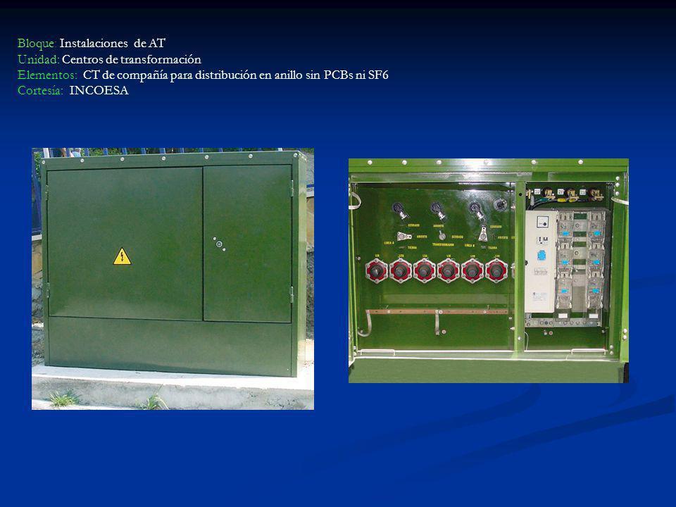 Bloque: Instalaciones de AT Unidad: Centros de transformación Elementos: CT de compañía para distribución en anillo sin PCBs ni SF6