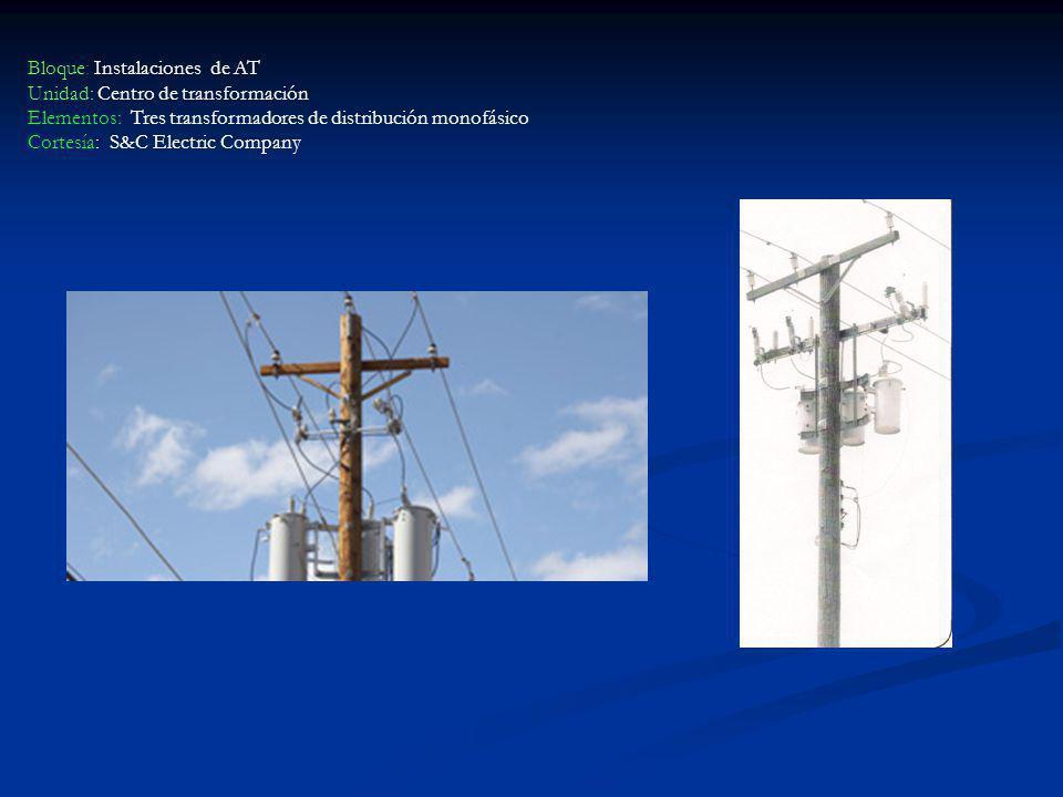Bloque: Instalaciones de AT Unidad: Centro de transformación Elementos: Tres transformadores de distribución monofásico
