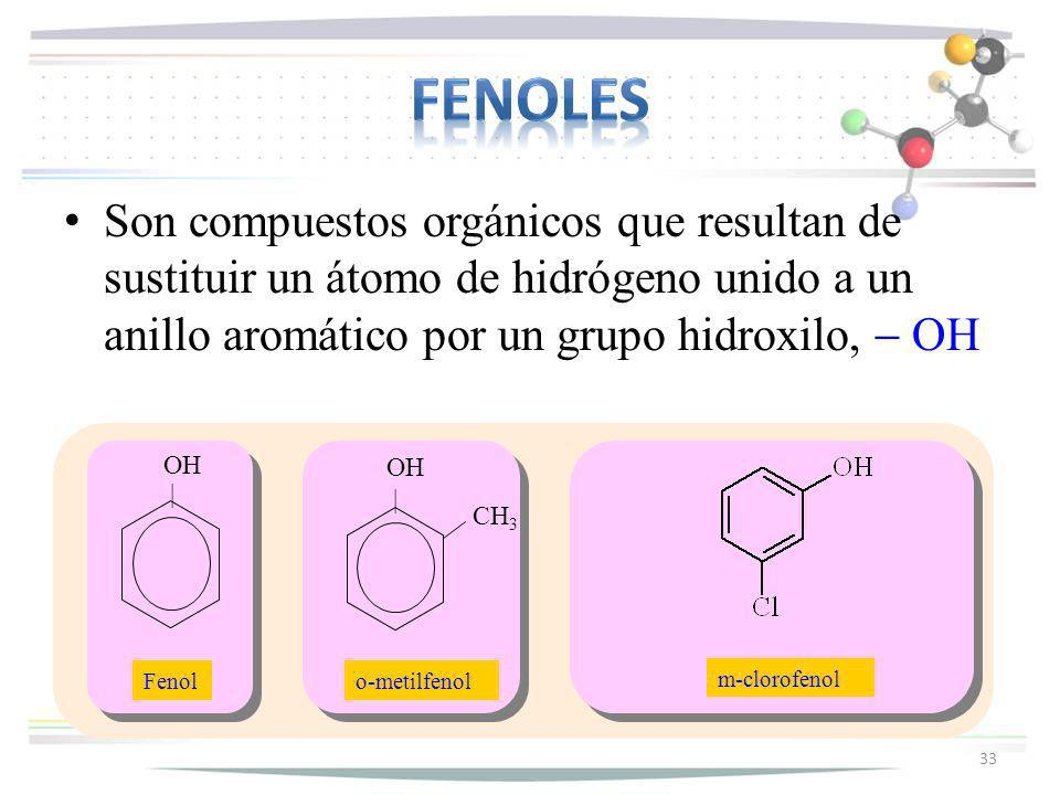 fenoles Son compuestos orgánicos que resultan de sustituir un átomo de hidrógeno unido a un anillo aromático por un grupo hidroxilo, - OH.