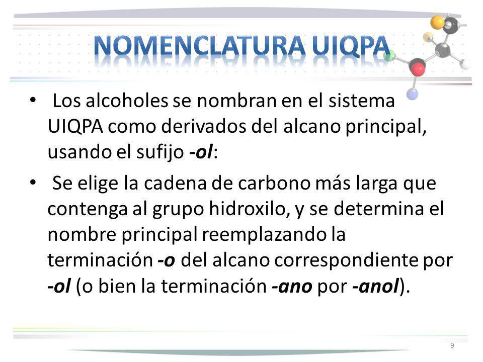 Nomenclatura uiqpa Los alcoholes se nombran en el sistema UIQPA como derivados del alcano principal, usando el sufijo -ol: