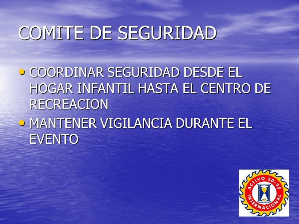 COMITE DE SEGURIDAD COORDINAR SEGURIDAD DESDE EL HOGAR INFANTIL HASTA EL CENTRO DE RECREACION.