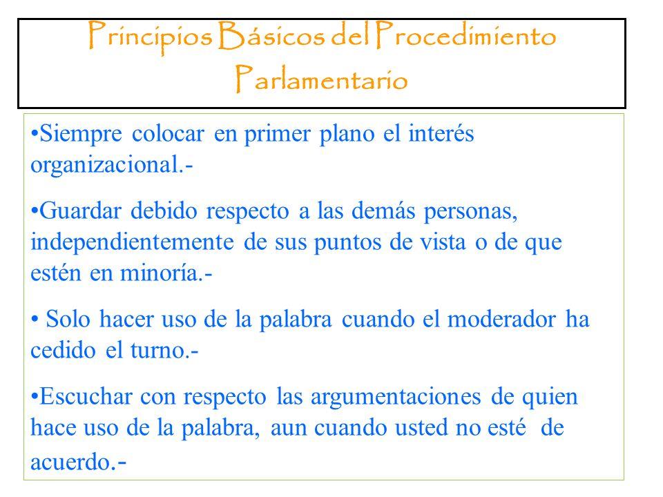 Principios Básicos del Procedimiento Parlamentario
