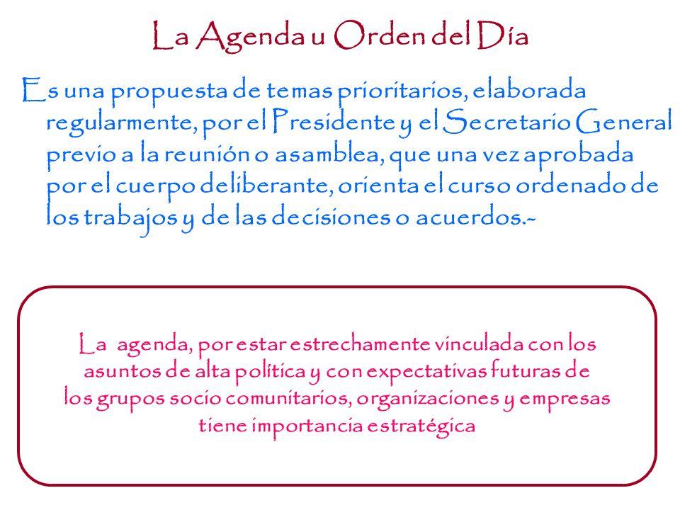 La Agenda u Orden del Día