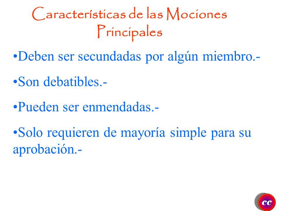 Características de las Mociones Principales