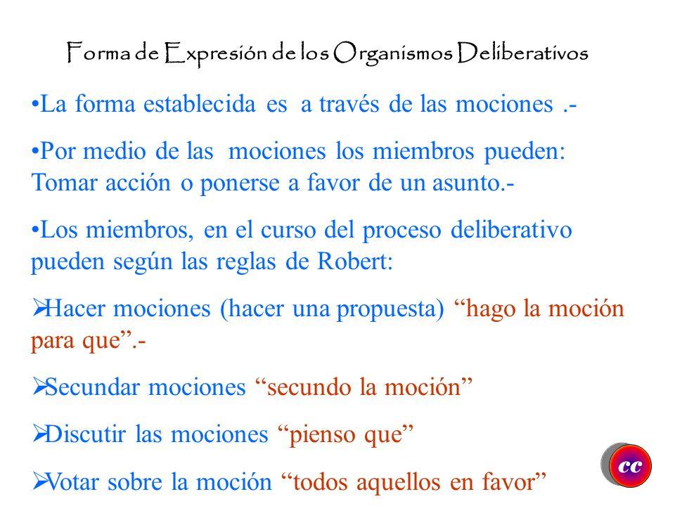 Forma de Expresión de los Organismos Deliberativos