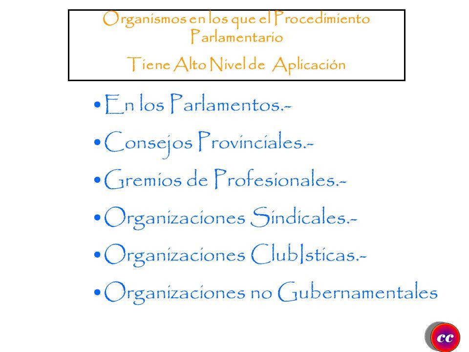 Consejos Provinciales.- Gremios de Profesionales.-
