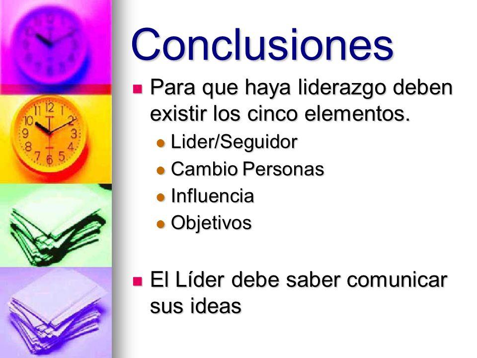 Conclusiones Para que haya liderazgo deben existir los cinco elementos. Lider/Seguidor. Cambio Personas.