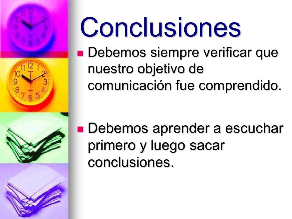 Conclusiones Debemos siempre verificar que nuestro objetivo de comunicación fue comprendido.