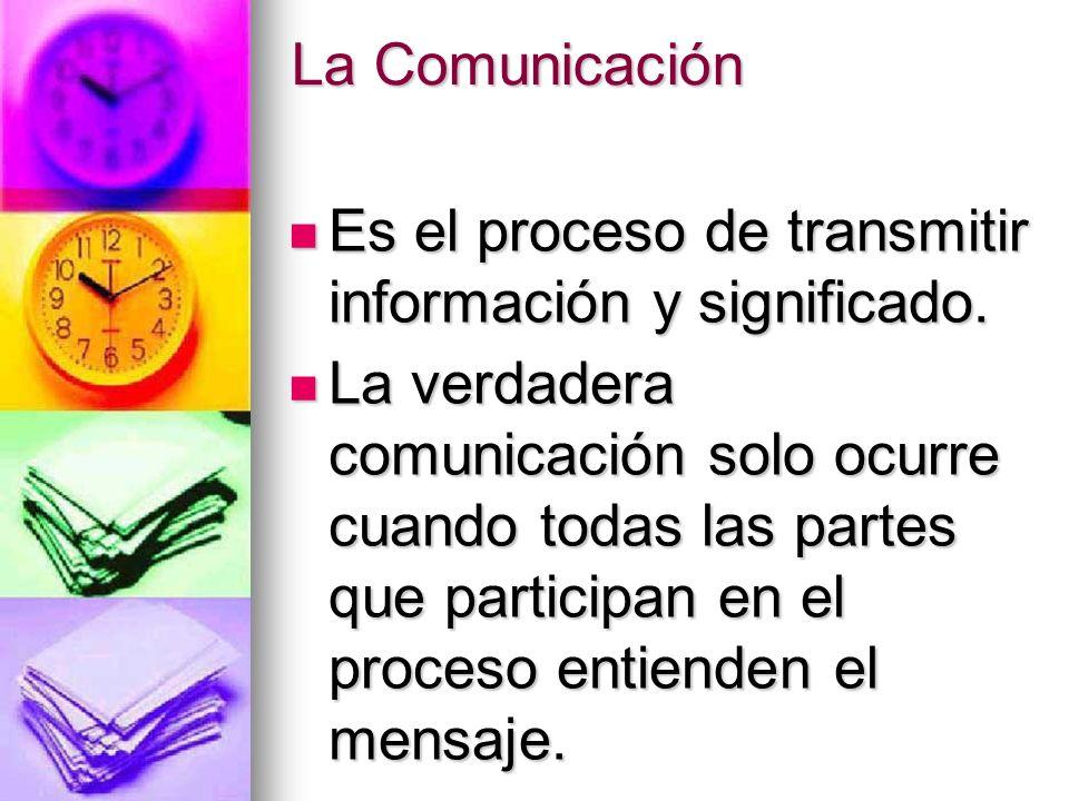 La Comunicación Es el proceso de transmitir información y significado.