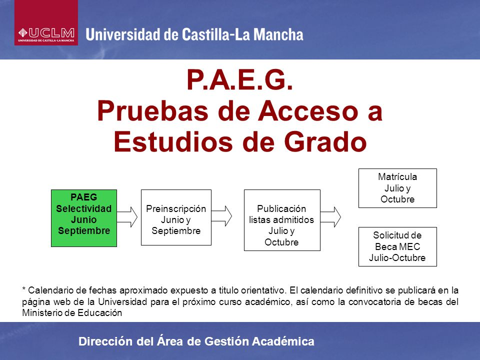 P.A.E.G. Pruebas de Acceso a Estudios de Grado