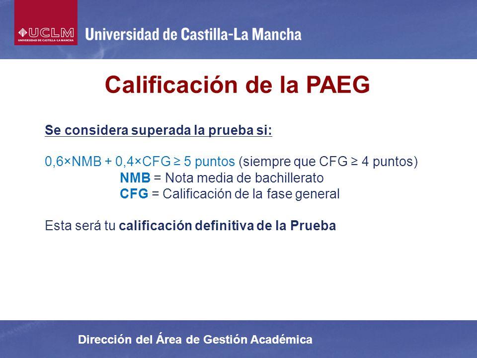 Calificación de la PAEG