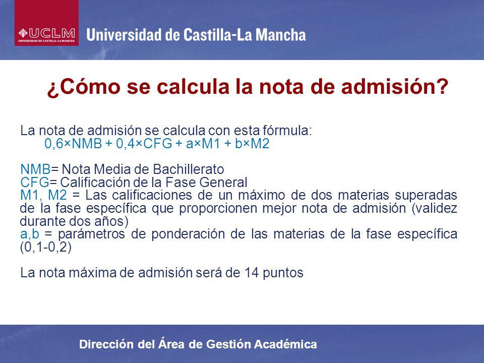 ¿Cómo se calcula la nota de admisión
