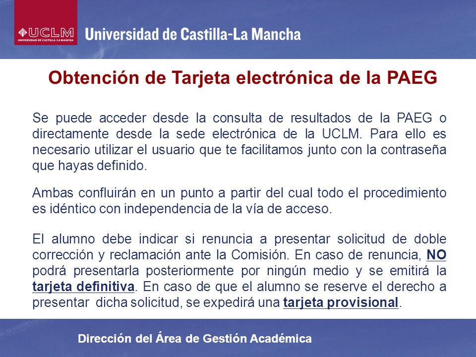 Obtención de Tarjeta electrónica de la PAEG