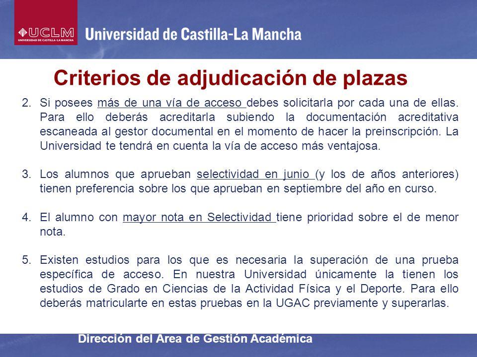 Criterios de adjudicación de plazas
