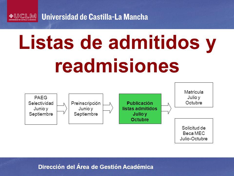 Listas de admitidos y readmisiones