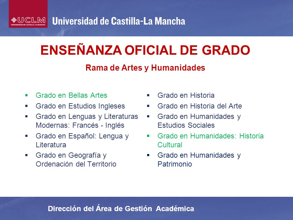 ENSEÑANZA OFICIAL DE GRADO Rama de Artes y Humanidades