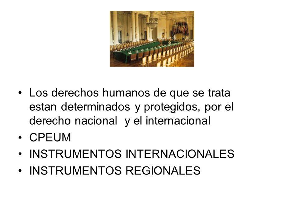 Los derechos humanos de que se trata estan determinados y protegidos, por el derecho nacional y el internacional