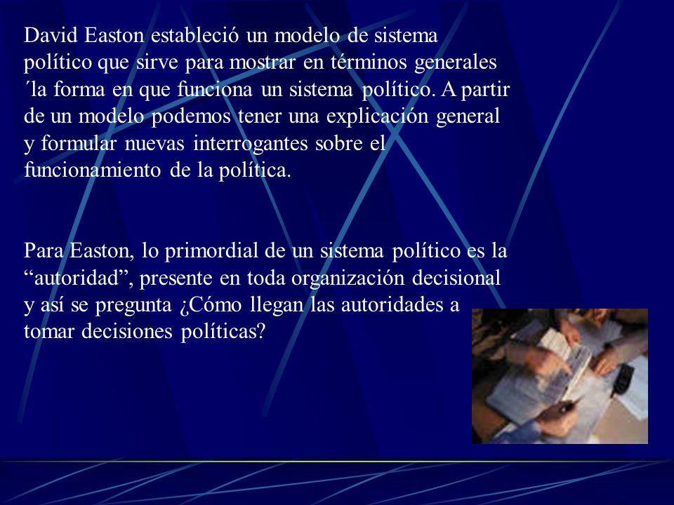 David Easton estableció un modelo de sistema político que sirve para mostrar en términos generales ´la forma en que funciona un sistema político. A partir de un modelo podemos tener una explicación general y formular nuevas interrogantes sobre el funcionamiento de la política.