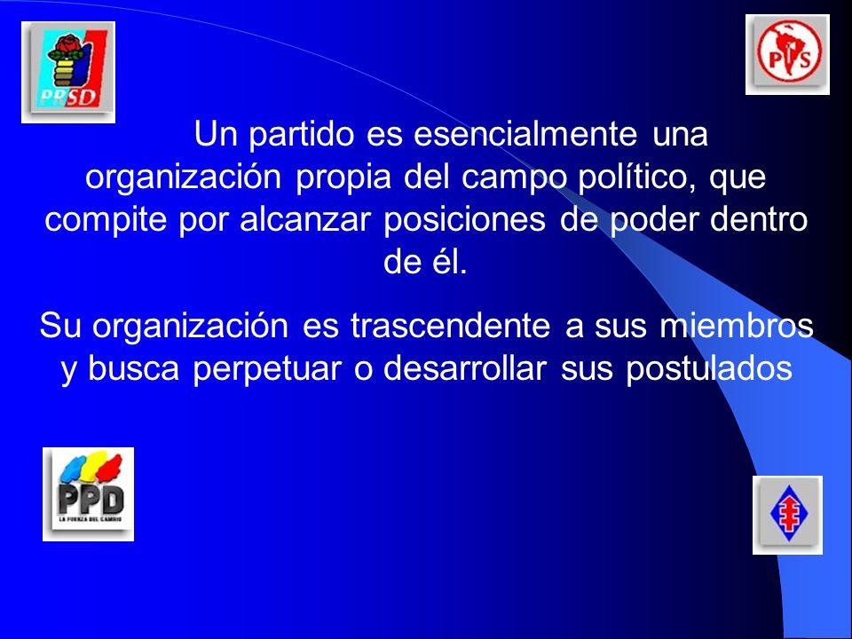Un partido es esencialmente una organización propia del campo político, que compite por alcanzar posiciones de poder dentro de él.