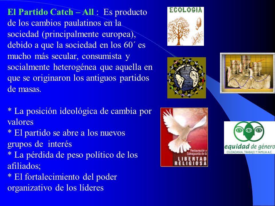 El Partido Catch – All : Es producto de los cambios paulatinos en la sociedad (principalmente europea), debido a que la sociedad en los 60´ es mucho más secular, consumista y socialmente heterogénea que aquella en que se originaron los antiguos partidos de masas.
