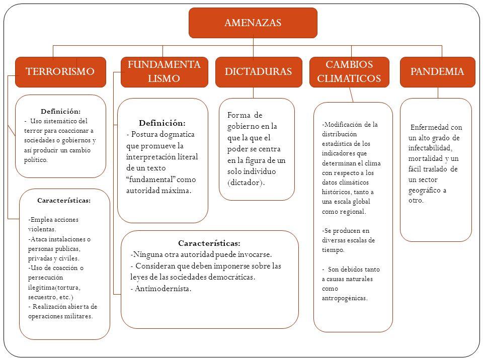AMENAZAS TERRORISMO FUNDAMENTALISMO DICTADURAS CAMBIOS CLIMATICOS