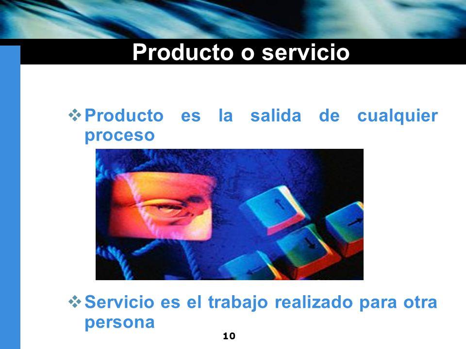 Producto o servicio Producto es la salida de cualquier proceso