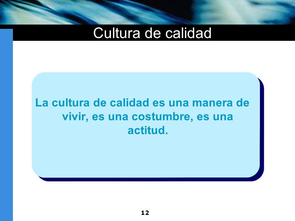 Cultura de calidad La cultura de calidad es una manera de vivir, es una costumbre, es una actitud.