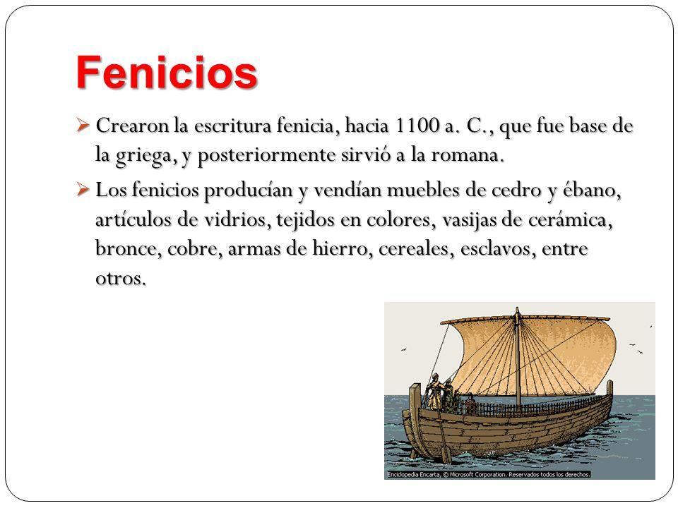 FeniciosCrearon la escritura fenicia, hacia 1100 a. C., que fue base de la griega, y posteriormente sirvió a la romana.