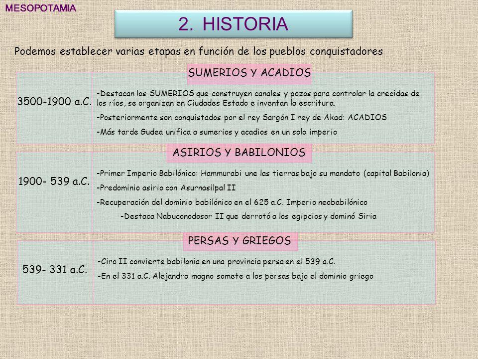 MESOPOTAMIA HISTORIA. Podemos establecer varias etapas en función de los pueblos conquistadores. SUMERIOS Y ACADIOS.