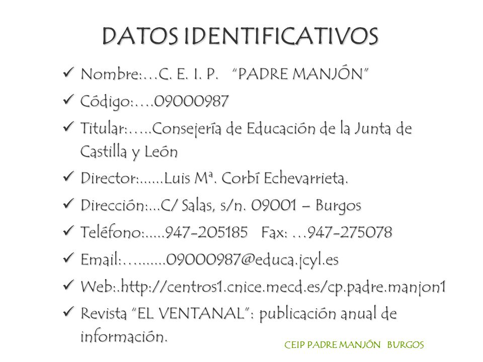 DATOS IDENTIFICATIVOS